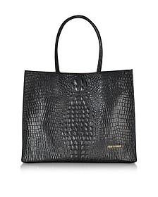Graphic Caiman Leather Tote
