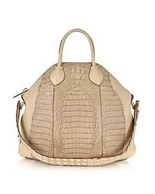 Goa Big Caiman and Leather Handbag