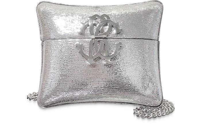 Silver Laminated Leather Minaudiere Pillow Clutch w/Chain Strap - Roberto Cavalli