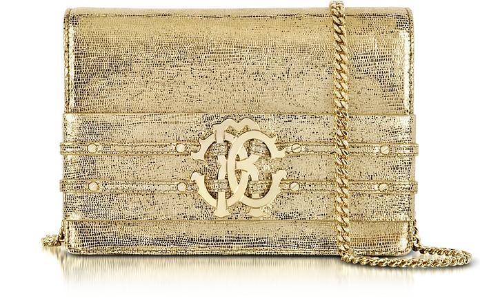Mirror Gold Leather RC Clutch - Roberto Cavalli