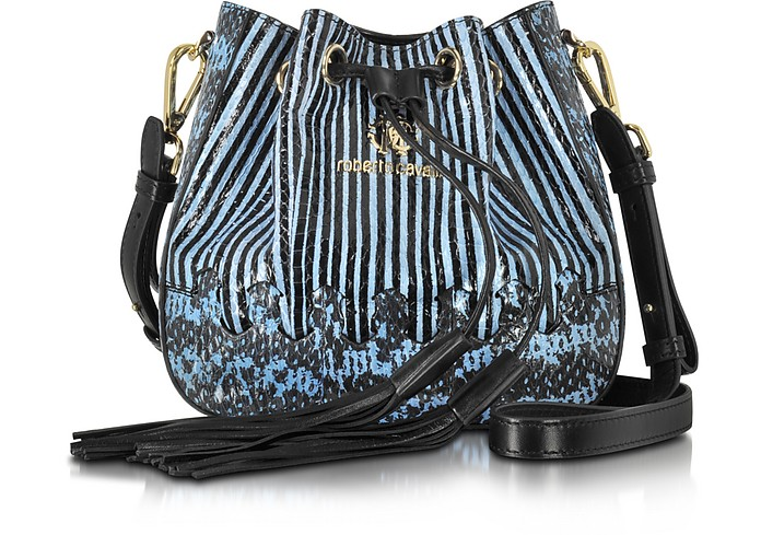 Drawstring Powder Blue Elaphe Snakeskin Bucket Bag - Roberto Cavalli