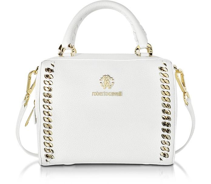 Boston Mini Off White Leather Handbag - Roberto Cavalli