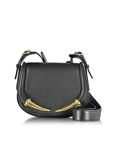 Kripton Black Leather Small Shoulder Bag - Roberto Cavalli
