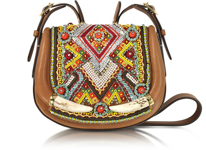 Horn and Beads Embroidery Leather Shoulder Bag - Roberto Cavalli