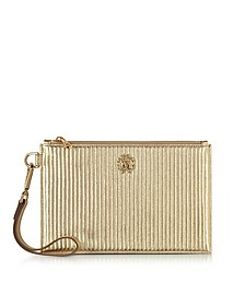 Platinum Gold Laminated Quilted Nappa Leather Zip Clutch - Roberto Cavalli