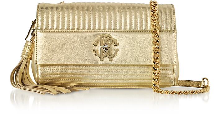 Platinum Gold Laminated Quilted Nappa Leather Small Shoulder Bag - Roberto Cavalli