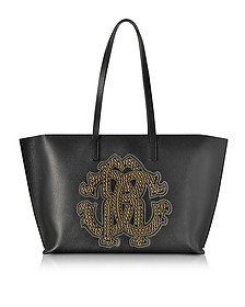 Black Leather Unisex Tote Bag w/Gold Studs RC Logo - Roberto Cavalli