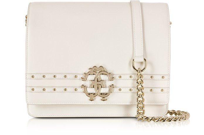 Oyster Leather Medium Shoulder Bag w/Studs - Roberto Cavalli