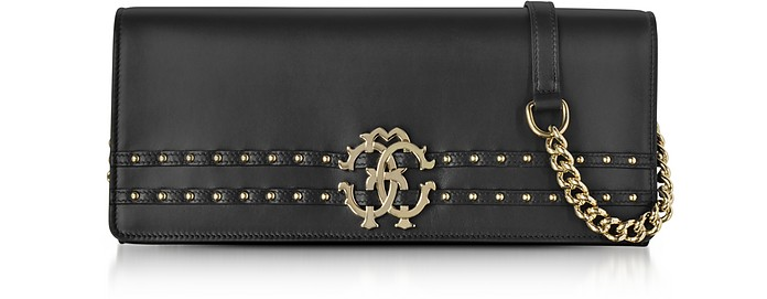 Black Leather Clutch w/Chain Shoulder Strap and Studs - Roberto Cavalli