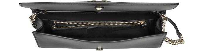 size 40 3943b 07d2e Roberto Cavalli Black Leather Clutch w/Chain Shoulder Strap and Studs