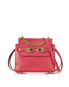 Tulip Leather Shoulder Bag w/Goldtone and Crystals Snake Heads - Roberto Cavalli