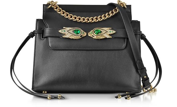 Black Leather Shoulder Bag w/Goldtone and Crystals Snake Heads - Roberto Cavalli