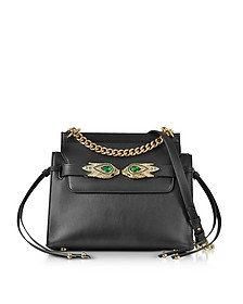 Black Leather Shoulder Bag w/Goldtone and Crystals Snake Heads - Roberto Cavalli