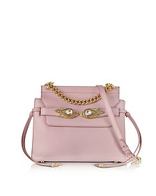 Mauve Leather Shoulder Bag w/Goldtone and Crystals Snake Heads - Roberto Cavalli