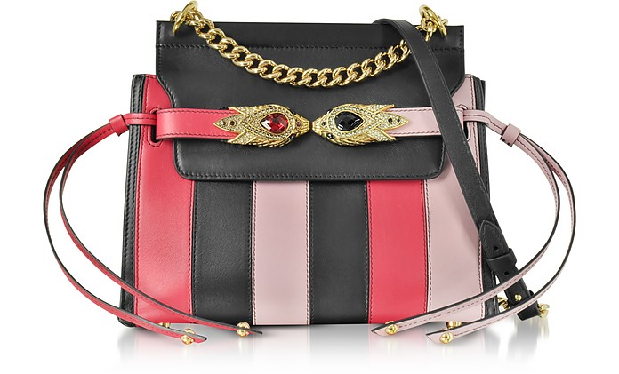 Tulip, Black and Nude Stripe Leather Shoulder Bag w/Goldtone and Crystals Snake Heads - Roberto Cavalli