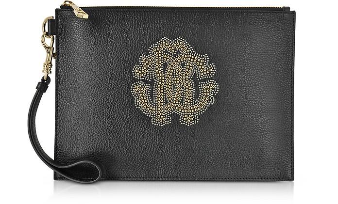 Black Leather Unisex Zip Clutch w/Gold Studs RC Logo - Roberto Cavalli