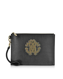 Black Leather Unisex Zip Clutch w/Gold Studs RC Logo - Roberto Cavalli