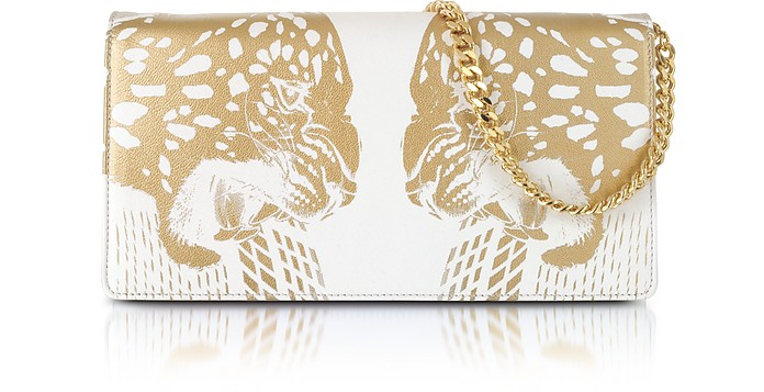 Juno Small Tiger Printed Leather Clutch - Roberto Cavalli