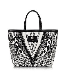 Flo Black and White Large Canvas Tote