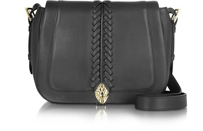 Serpent Black Smooth Leather Medium Flap Shoulder Bag - Roberto Cavalli
