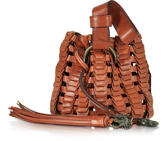 Mini Rust Woven Leather Bucket Bag - Roberto Cavalli