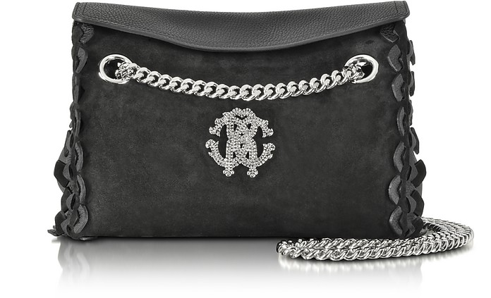Regina Black Leather and Suede Medium Flap Shoulder Bag - Roberto Cavalli
