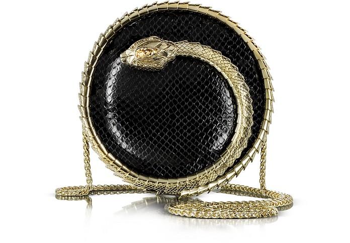 Serpent Black Python Snake Sphere Clutch - Roberto Cavalli