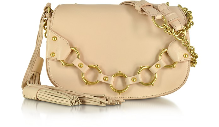 Fringe Small Blush Leather Shoulder Bag - Roberto Cavalli