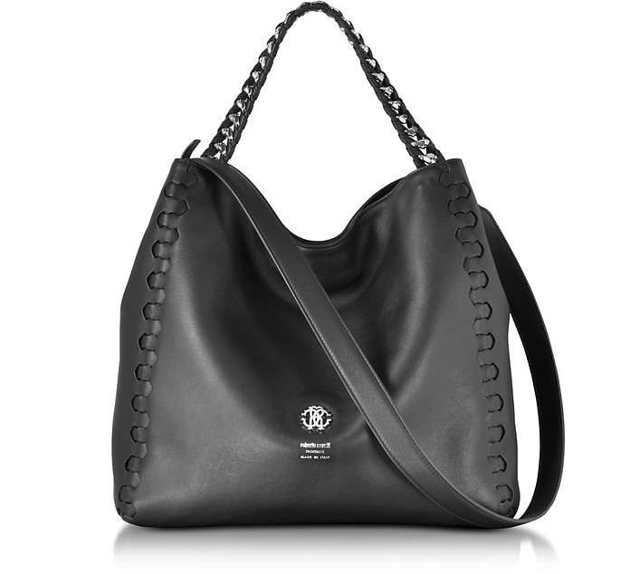 Medium Black Leather Tote Bag - Roberto Cavalli
