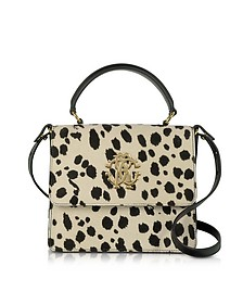 Pony Hair and Calf Leather Top Handle Satchel Bag - Roberto Cavalli