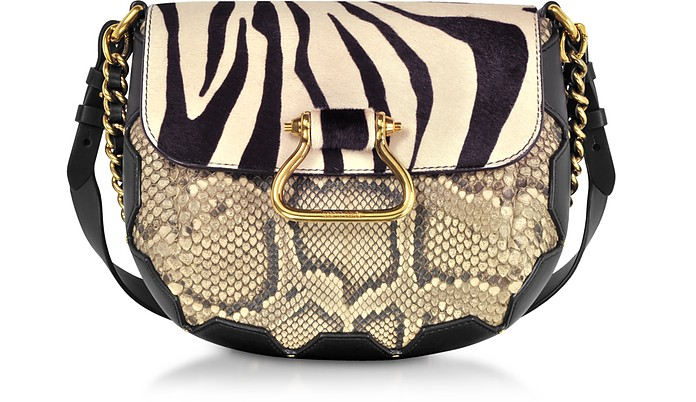 Black/Alabaster Zebra Pony Hair and Gold Python Medium Shoulder Bag - Roberto Cavalli