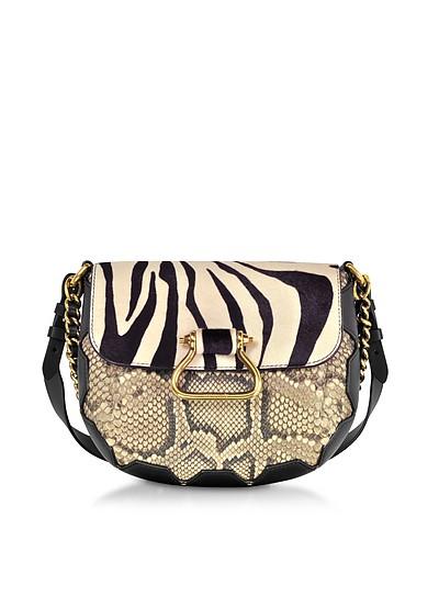 Black/Alabaster Zebra Pony Hair and Gold Python Medium Shoulder Bag - Roberto Cavalli