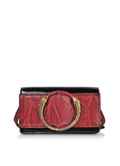 Black Patent Leather and Cherry Python Small Shoulder Bag - Roberto Cavalli