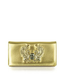 Gold Laminated Juno Small Leather Clutch