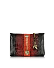 Orb Black and Dark Red Ayers Snake Small Clutch w/Chameleon Chain