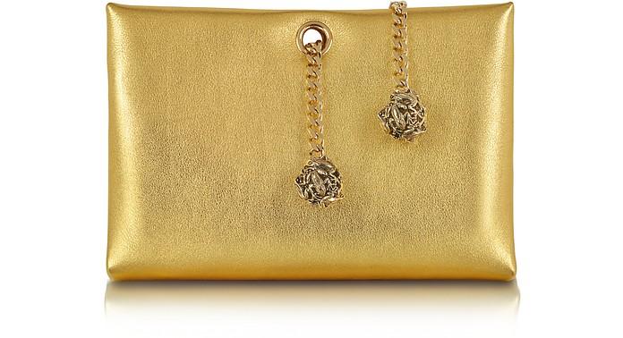 Orb Gold Metallic Leather Clutch w/Frog Chain - Roberto Cavalli