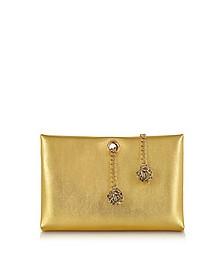 Orb Gold Metallic Leather Clutch w/Frog Chain