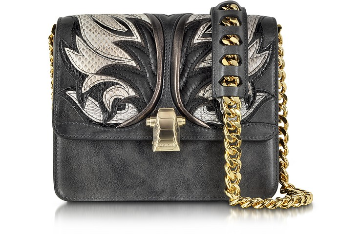 Hera Charcoal Leather and Ayers Fire Patchwork Shoulder Bag - Roberto Cavalli