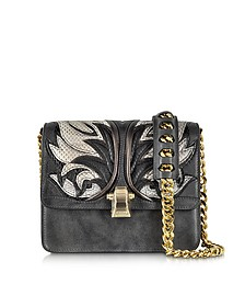 Hera Charcoal Leather and Ayers Fire Patchwork Shoulder Bag