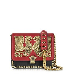 Hera Dark Red and Black Leather Shoulder Bag w/Jewel Plate and Studs