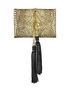 Lion Gold and Black Quilted Metallic Python Small Clutch