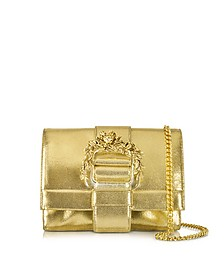 Small Light Gold Metallic Leather Clutch w/Chain Strap