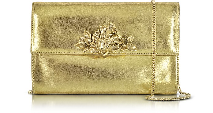 Metallic Light Gold Leather Clutch w/Detachable Chain Strap - Roberto Cavalli