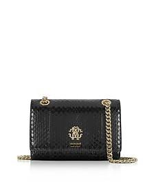 Black Shiny Elaphe Leather Shoulder Bag - Roberto Cavalli