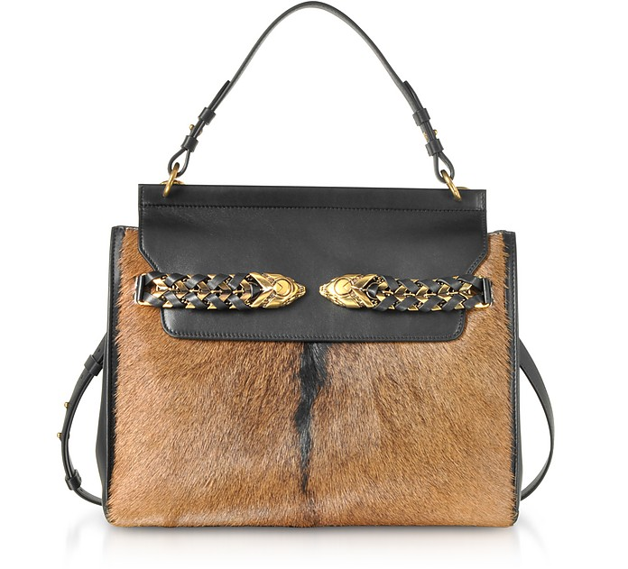 Black Leather and Natural Pony Hair Satchel Bag - Roberto Cavalli