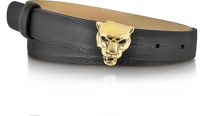 Panther Gold Tone Metal w/Black Leather Belt - Roberto Cavalli