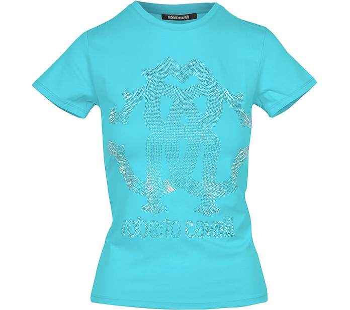 Aqua Cotton Women's T-Shirt w/Crystal Logo - Roberto Cavalli