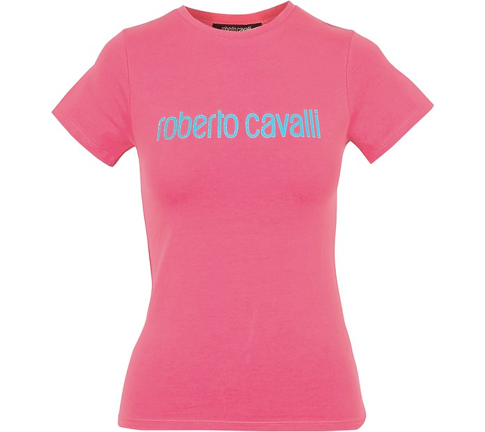 Coral Red Cotton Signature Women's T-Shirt - Roberto Cavalli
