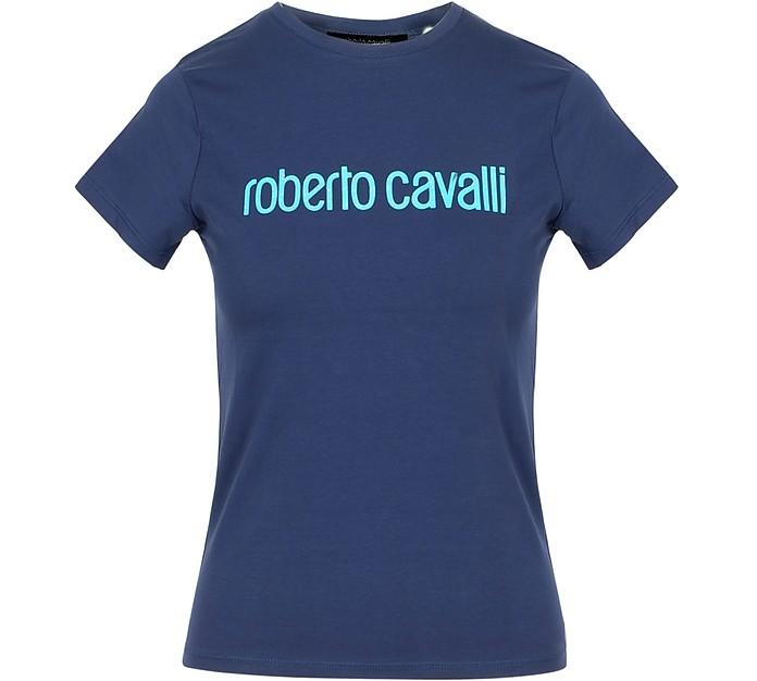 Navy Blue Cotton Signature Women's T-Shirt - Roberto Cavalli
