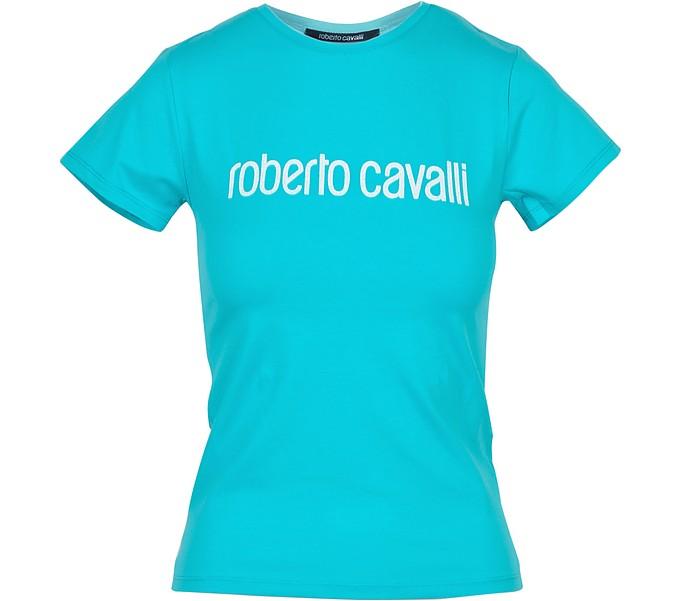 Aqua Cotton Signature Women's T-Shirt - Roberto Cavalli